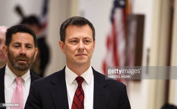 In this file photo taken on June 27 2018 FBI agent Peter P Strzok arrives for a full committee meeting on Deposition of Peter P Strzok at the House...