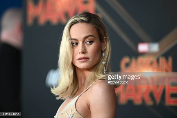 In this file photo taken on March 4 2019 US actress Brie Larson attends the world premiere of Captain Marvel in Hollywood California Captain Marvel...