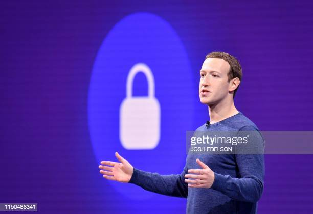 In this file photo taken on May 1 2018 Facebook CEO Mark Zuckerberg speaks during the annual F8 summit at the San Jose McEnery Convention Center in...