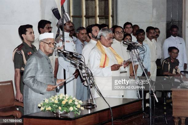 In this file photo taken on May 16 1996 Indian Prime Minister Atal Bihari Vajpayee leader of the right wing Bharatiya Janata Party takes the oath of...