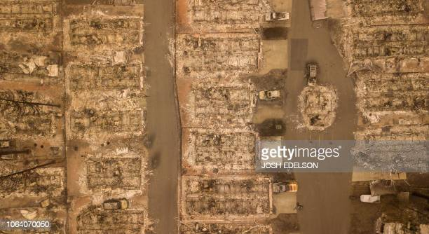 In this file photo taken on November 15 in this aerial photo a burned neighborhood is seen in Paradise California With the embers still raining from...