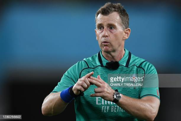 In this file photo taken on October 05, 2019 Welsh referee Nigel Owens gestures during the Japan 2019 Rugby World Cup Pool C match between England...