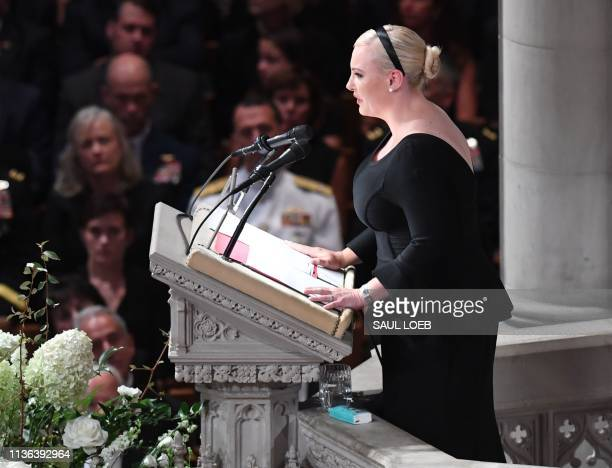 In this file photo taken on September 1 2018 Meghan McCain daughter of US Senator John McCain speaks during a memorial service for her father at the...