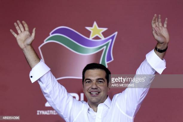 In this file photo taken on September 21 2015 Syriza leader Alexis Tsipras celebrates with supporters after his party's victory in the Greek general...