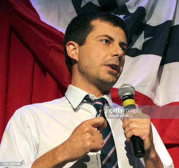 In this file photo taken on September 26, 2016 Sound Bend Indiana Mayor Peter Buttigieg talks about Republican Vice-presidential candidate Mike Pence...