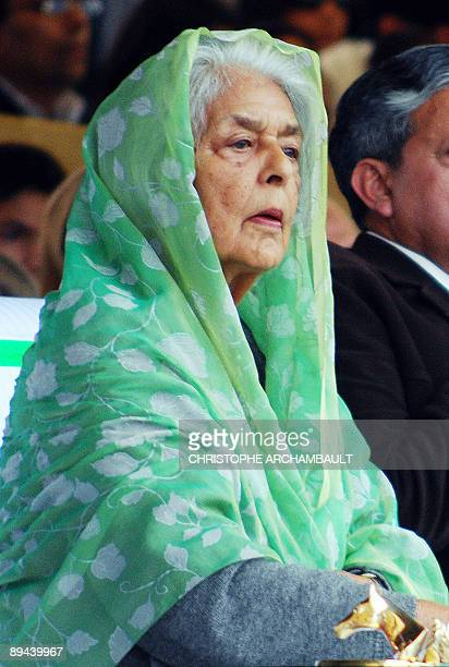 In this file photograph taken on February 18, 2007 at the Jaipur Polo Ground in New Delhi, honorary guest Maharani Gayatri Devi, the widow of the...