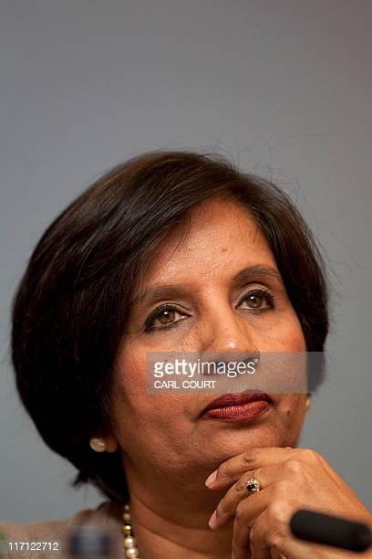 In this file photograph taken on February 22 2010 India's Foreign Secretary Nirupama Rao attends a conference entitled 'Perspectives on Foreign...