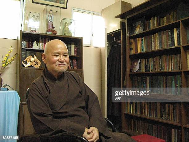 In this file photograph taken on July 27 2007 Vietnam's dissident Buddhist monk Thich Quang Do sits inside the Thanh Minh Zen Monastry in Ho Chi Minh...