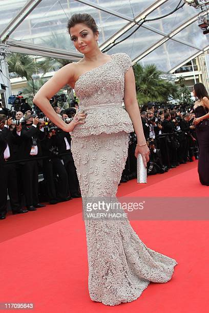 In this file photograph taken on May 11 Indian Bollywood actress Aishwarya Rai Bachchan poses on the red carpet before the opening ceremony and the...
