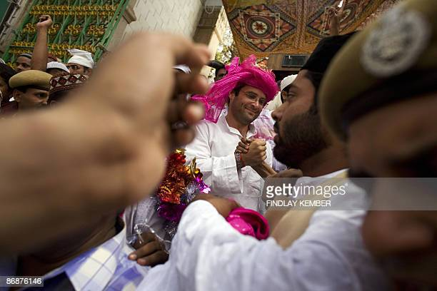 In this file photograph taken on May 4 2009 Congress Party General Secretary Rahul Gandhi visits Muslim shrine Darga Sharif in Ajmer during...