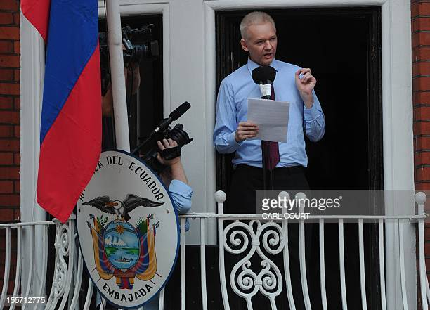 In this file picture taken on August 19 2012 Wikileaks founder Julian Assangeaddresses the media and his supporters from the balcony of the...
