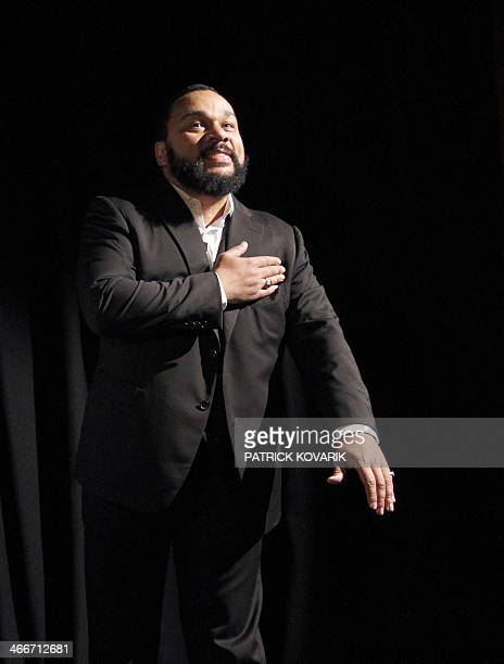 In this file picture taken on January 15 2012 controversial French humorist Dieudonne Mbala Mbala gestures as he delivers a speech prior to the...
