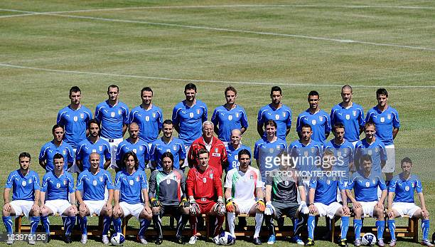 In this file picture taken on May 26 2010 Italian football team members pose for an official picture in Sestriere where the squad is holding a...