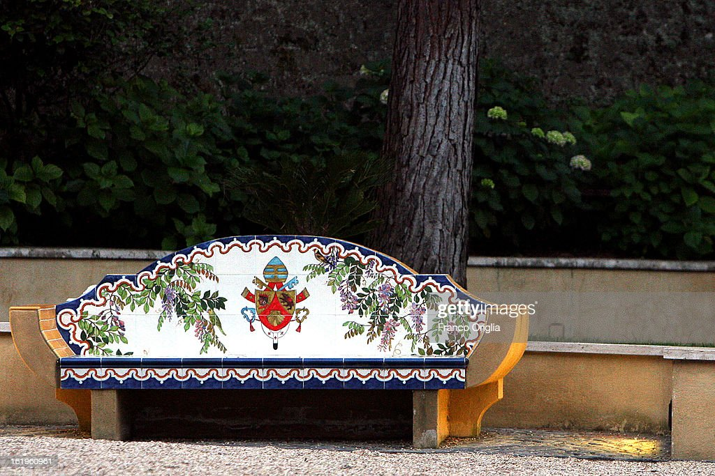 In this file picture taken on May 30, 2009 a bench with the effigy of Benedict XVI Papacy close to the convent of Mater Ecclesiae, the new residence of Pope Benedict XVI after his retiremen, in Vatican City, Vatican.