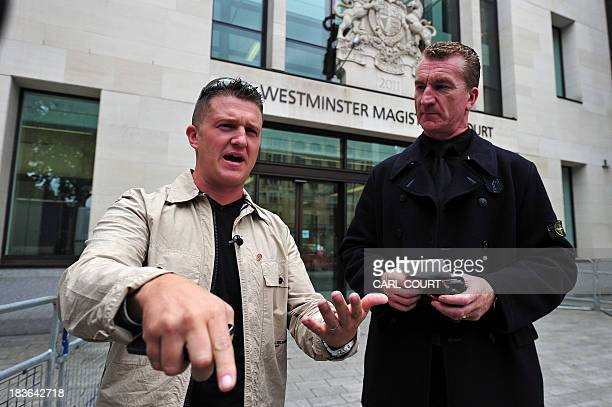 In this file picture taken on September 11 2013 Stephen YaxleyLennon also known as Tommy Robinson the cofounder spokesman and leader of the English...