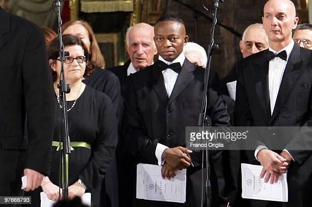 In this Filephoto taken in Rome on November 10 2009 at the Ara Coeli Basilica Chinedu Ehiem Thomas a Nigerian singer of the Cappella Giulia Coro the...