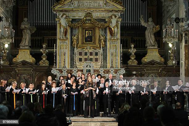 In this Filephoto taken in Rome on November 10 2009 at the Ara Coeli Basilica the Cappella Giulia Coro the official choir of the St Peter's Basilica...