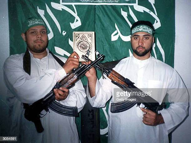 In this frame grab handout image released March 8 2004 by Hamas nearly a year after their deaths British Muslim suicide bombers 27yearold Omar Khan...