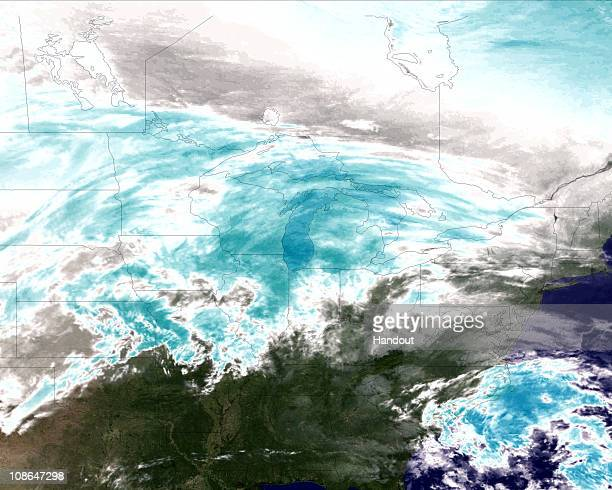In this GOESEast satellite image from the National Oceanic and Atmosphere Administration a water vapor image shows areas of high atmospheric moisture...