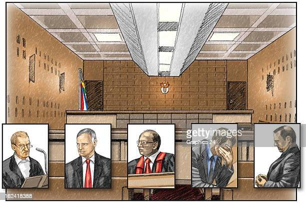 In this graphic illustration a representation is given of the primary players state prosecutor Gerrie Nel defense attornery Barry Roux magistrate...