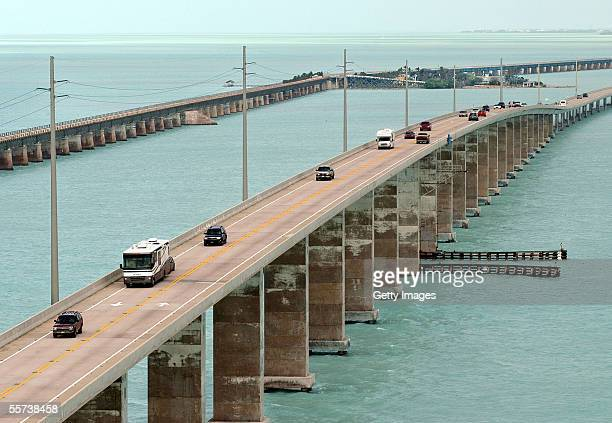 In this handount photo provided by the Florida Keys News Bureau, traffic flows on the Seven Mile Bridge a day after Hurricane Rita skirted the Keys...