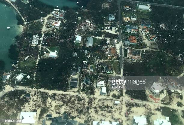In this handout aerial photo provided by the HeadKnowles Foundation, damage is seen from Hurricane Dorian on Abaco Island on September 3, 2019 in the...