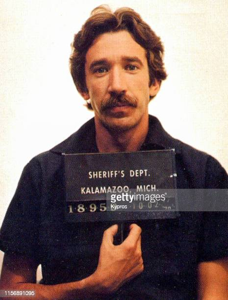 In this handout American actor and comedian Tim Allen in a mug shot following his arrest for cocaine possession Kalamazoo Michigan US 2nd October 1978