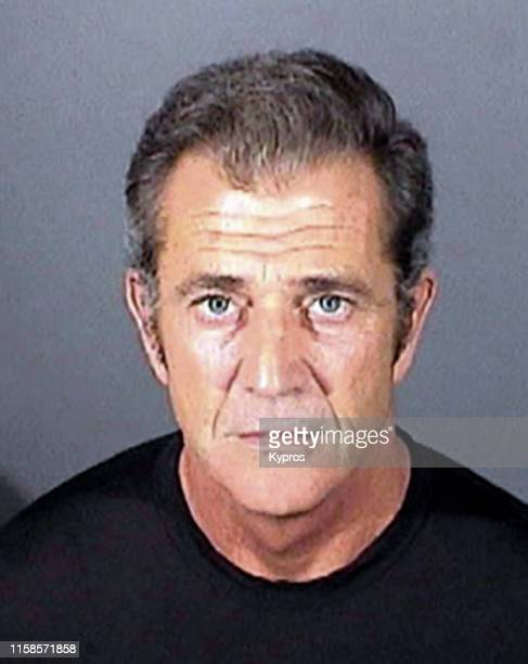 In this handout American actor and filmmaker Mel Gibson in a mug shot following a misdemeanor battery conviction El Segundo Police Department...
