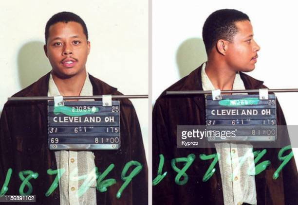 In this handout, American actor and singer Terrence Howard in a mug shot following his arrest after causing a disturbance on an airplane, Cleveland,...