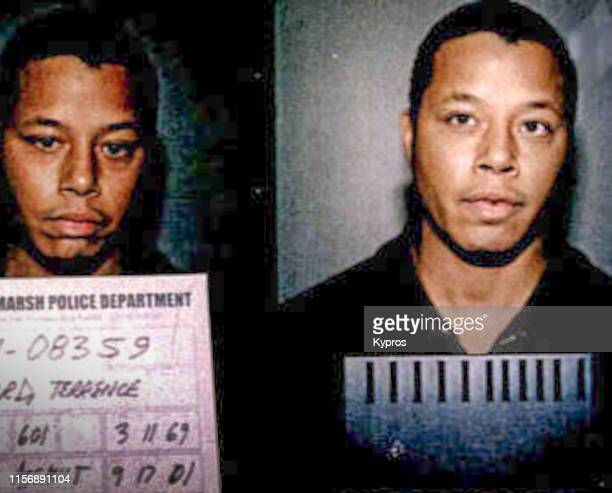 In this handout, American actor and singer Terrence Howard in a mug shot following his arrest for domestic assault, Whitemarsh Township, US, 17th...