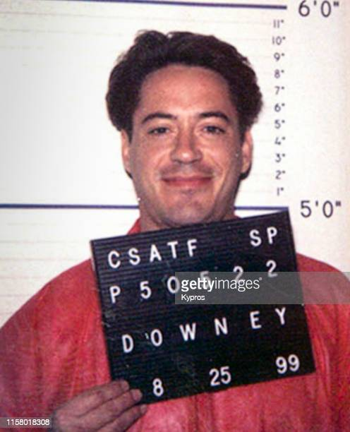 In this handout, American actor Robert Downey Jr in a mug shot taken at the California Department of Corrections, US, 25th September 1999.