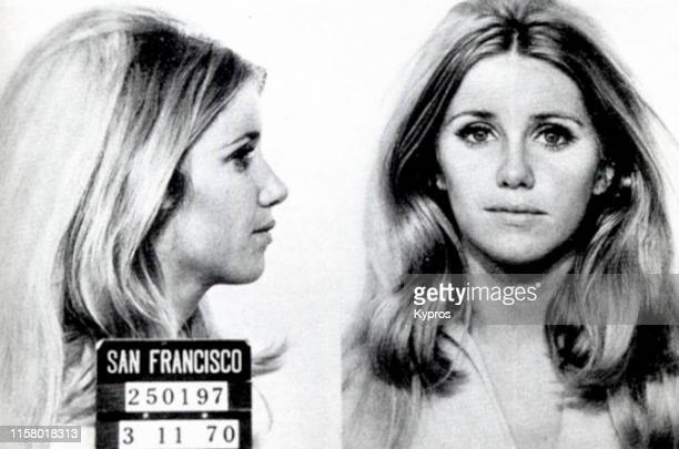 In this handout American actress author singer and businesswoman Suzanne Somers in a mug shot San Francisco California US 11th March 1970
