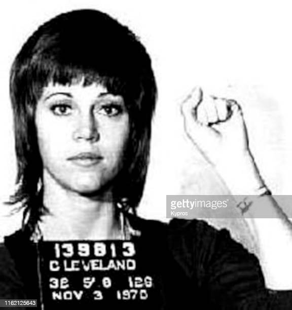 In this handout, American actress, writer, producer, political activist Jane Fonda in a mug shot following her arrest, Cleveland, Ohio, US, 3rd...