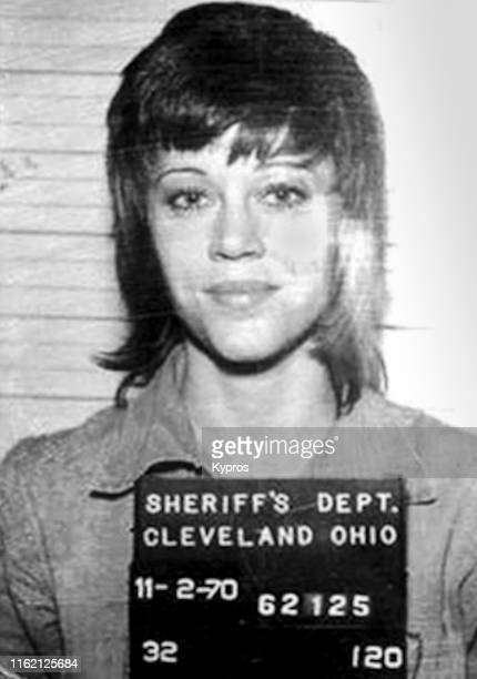 In this handout, American actress, writer, producer, political activist Jane Fonda in a mug shot following her arrest, Cleveland, Ohio, US, 2nd...