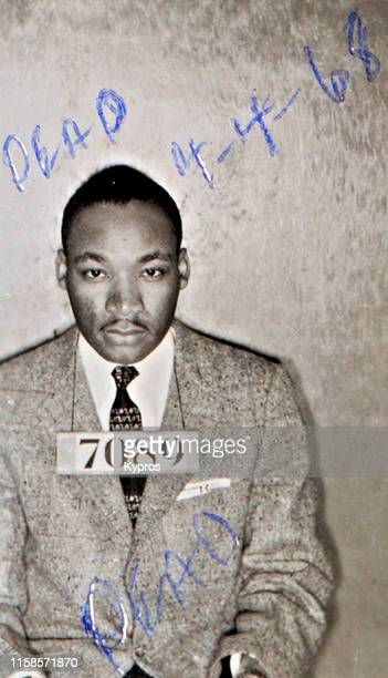 In this handout American Baptist minister and activist Martin Luther King Jr in a mug shot following his arrest during the Montgomery bus boycotts...