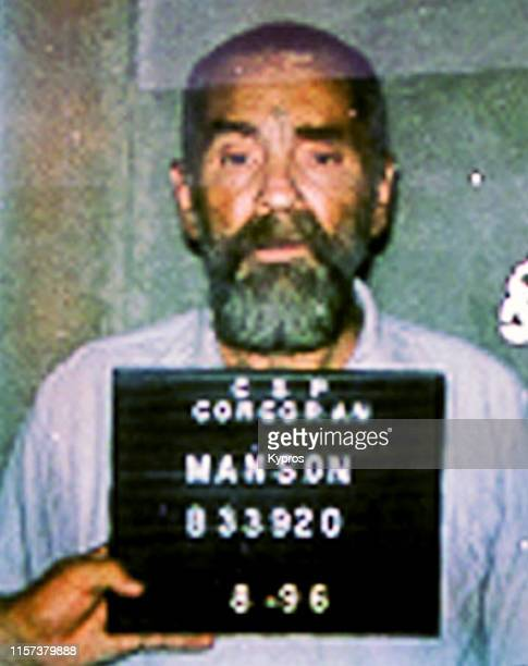 In this handout American criminal and cult leader Charles Manson in a mug shot at the California Department of Corrections US August 1996