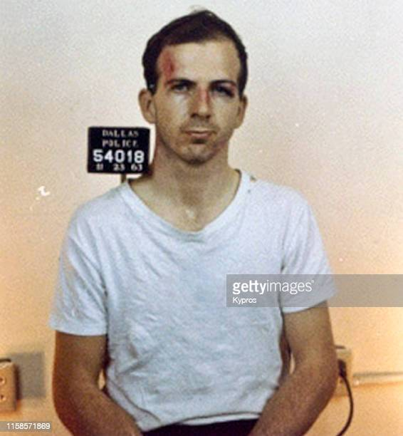 In this handout American Marxist and former US Marine Lee Harvey Oswald in a mug shot after he was arrested for assassinating President John F...