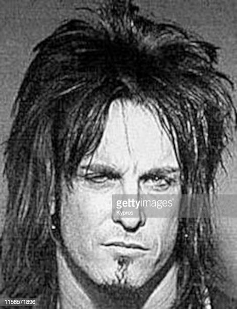 In this handout American musician songwriter radio host and photographer Nikki Sixx in a mug shot circa 1999