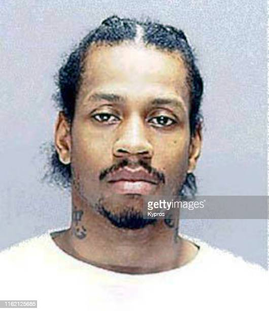In this handout American professional basketball player Allen Iverson in a mug shot following his arrest in Philadelphia US 16th July 2002