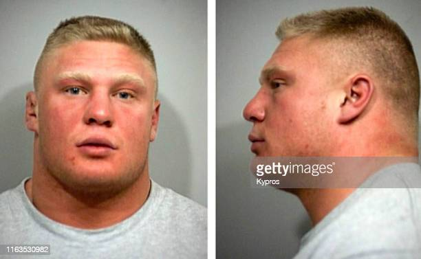 In this handout American professional wrestler Brock Lesnar in a mug shot following his arrest in Louisville Kentucky US January 2001