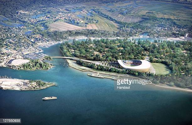 In this handout artists impression provided by the Russia 2018 Organising Commitee the Samara Stadium is shown as proposed and presented as part of...