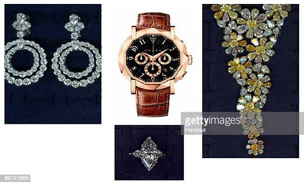 In this handout composite image from the Metropolitan Police obtained August 11 jewellery and a watch that were stolen from Graff Jewellers August 6...