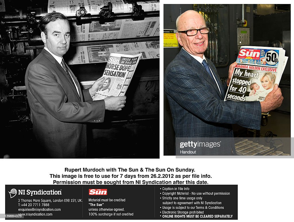 Image is a digital composite) In this handout composite photograph provided by News International, Rupert Murdoch, Chairman and CEO of News Corporation, reviews the first edition of 'The Sun On Sunday' as it comes off the presses on February 25, 2012 in Broxbourne, England (R) and Rupert Murdoch reviews the first edition of 'The Sun' as it comes off the presses in 1969, United Kingdom (L). Around 3 million copies of 'The Sun On Sunday', the first ever Sunday edition of News International's daily tabloid newspaper 'The Sun', are due to go on sale on Sunday February 26, 2012.