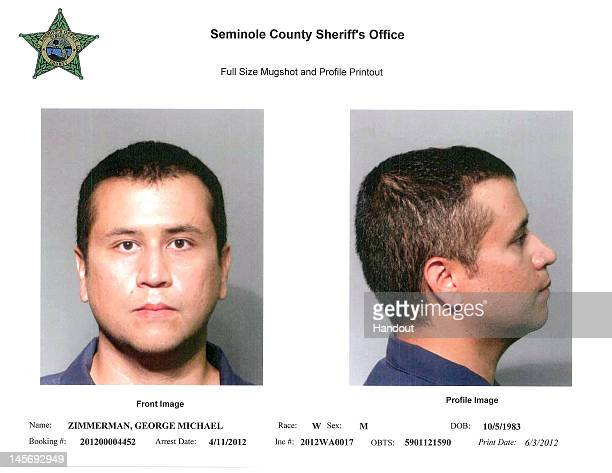 In this handout composite provided by the Seminole County Sheriff's Office George Zimmerman poses for a mugshot photo following his surrender to...