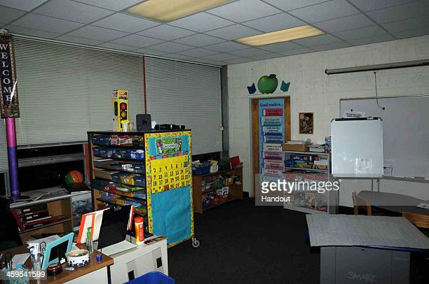 In this handout crime scene evidence photo provided by the Connecticut State Police, shows an interior at the Sandy Hook Elementary School following...