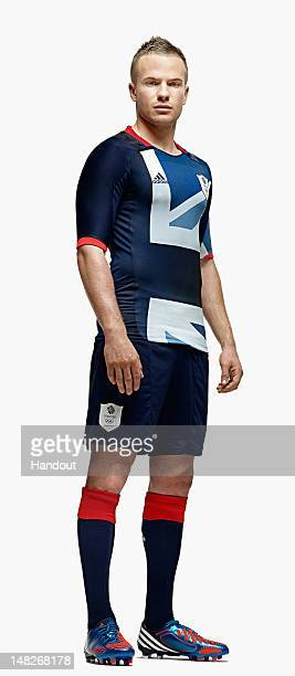 In this handout from adidas, Team GB footballer Tom Cleverley pictured in adidas Team GB London 2012 Olympic kit in London, England.