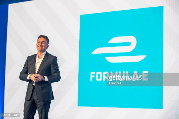 In this handout from FIA Formula E Alejandro Agag Founder CEO of Formula E announces the firstever title sponsorship of the electric street racing...