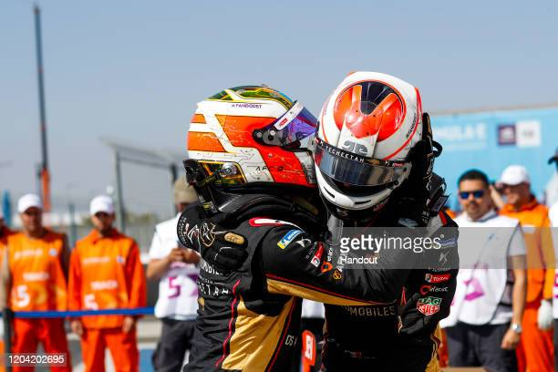 In this handout from FIA Formula E, Antonio Felix da Costa , DS Techeetah, DS E-Tense FE20, 1st position with Jean-Eric Vergne , DS Techeetah, DS...