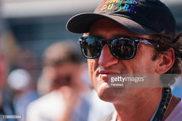 In this handout from FIA Formula E, Casey Neistat during the New York E-Prix, Race 12 of the 2018/19 ABB FIA Formula E Championship at Brooklyn...
