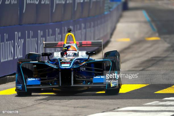 In this handout from FIA Formula E Emerson Fittipaldi former F1 World Champion and Indy 500 winner drives the Formula E car during the Zurich EPrix...